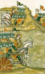 Русское войско выходит на Чудское озеро